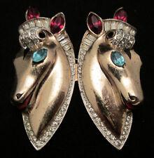 """Rare Vtg 2-1/4"""" Signed Coro Sterling Rhinestone Horse Brooch Fur Clip Duette A17"""