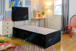 Plush Divan Bed Frame 3FT Single 4ft 6 Double 5ft King Headboard + Base Only