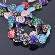10pcs 16mm Heart Mixed Millefiori Glass Loose Spacer Craft Beads Jewelry Making
