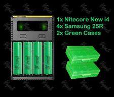 Nitecore NEW i4 Intellicharger/ 4x Samsung 25R 18650 2500mAh Battery/Green Cases