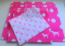 Lot (4) Victoria's Secret Pink Polka Dot paper gift bags MEDIUM & LARGE