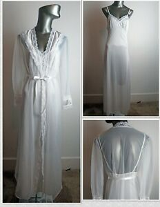 Delightful 1960s Vintage Sheer Wedding Night Peignoir Nightgown & Robe - Sz S