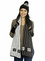 Adult 3 Pieces Hat Cap Scarf Fingerless Gloves Set Snowflake Knitted Winter Gift