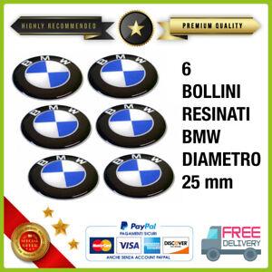 SERIE 6 ADESIVI 3D RESINATI per BMW diametro 25mm stickers adesivo LOGO resinato