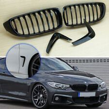 Gloss Black Front Grill + Side Fender Vent Air Cover 14-19 Fit BMW F32/F33/F36