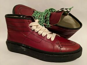 Vans New TH Sk8-Boot LX Leather Red Dahlia/Black Men Size USA 9