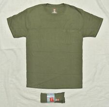 Mens Hanes 100% Cotton Tough Tagless POCKET Crew Neck Tee M Medium Ftg Green NWT