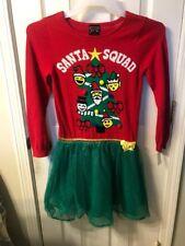 NEW HOLIDAY UGLY SWEATER DRESS EMOJI SANTA SQUAD CHRISTMAS GIRLS SZ LARGE 10/12