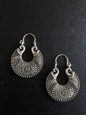 Boucles d'oreilles créoles argent Maroc ethnique boho tribal Big Bohemian Kuchi A1116