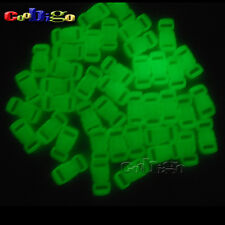 "15x Glow in the Dark 3/8"" Release Buckle Curve Paracord Bracelet Parachute 550"