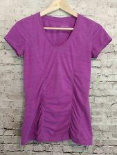 Zella Athletic Ruched Short Sleeve V-Neck Top Magenta Size XS