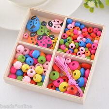 1Box Colorful Wood Beads Kit Ladybug Bracelet Necklace DIY Kids Craft Set