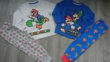 2x BUNDLE SUPER MARIO BOY PYJAMAS SET LONG SLEEVE TOP BOTTOM 3/4 YRS nr2