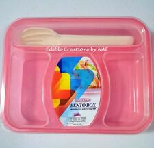 Bento Box/ Bento Plastic Lunch Box Pink BPA Free -3 Compartment with Spoon&Fork