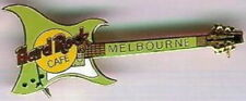 Hard Rock Cafe MELBOURNE 1998 ARIA Guitar PIN - LIME GREEN - HRC #5431