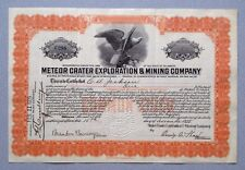Original Meteor Crater Exploration & Mining Co. stock certificate (very rare)
