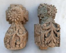 Antique Old Rare Wood Hand Carved Floral Figurine Traditional Door Wall Panel