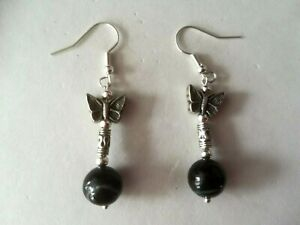 NICE EARRINGS WITH BLACK AGATE 4 GR. 3.6 CM. LONG + HOOKS ( WITH SMALL DEFECT )