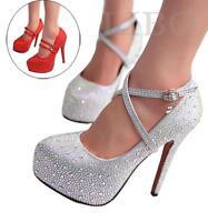 Scarpe donna sandali con strass Plateau Decolletè zeppa tacco alto argento rosso