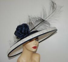 WHITE & NAVY DETAILED CROWN FEATURE HAT BY HATS2GO NO RETURN  MADE TO ORDER