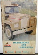 1975 Mack Maintenance And Lubrication Extended Interval Service Manual Original