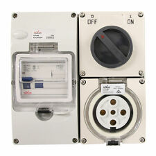 4 Pin 20amp Switched Socket Combination Outlet Ip66 Weatherproof Combo 3 Phase
