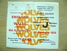 Ticket- 1976 International Match Under 21- ENGLAND v WALES, 15 December