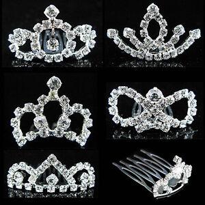 Wedding Prom Flower Girl Baby Kids Crystal Silver Tiara Crown Hair Comb UK