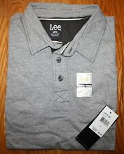 LEE BRAND MEN'S SHADOW GRAY SHORT-SLEEVE SUPER SOFT POLO SIZE LARGE NEW NWT