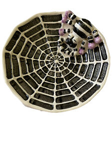 "Halloween Party Ceramic Spider With Web Dish 8"" Candy Cookie Tray"