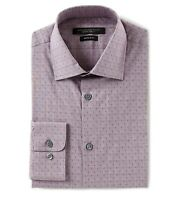 John Varvatos Star USA Men's Long Sleeve Check Dress Shirt Regular Fit Wine