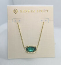New Kendra Scott Elisa Pendant Necklace In London Blue / Gold