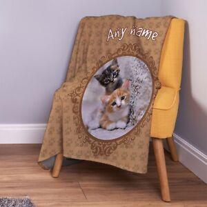 Personalised Cat Design Soft Pet Fleece Throw Blanket