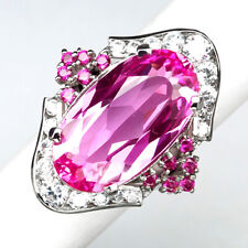 TOPAZ PINK OVAL 16.10 CT. RUBY SAPPHIRE 925 STERLING SILVER RING SZ 6 JEWELRY