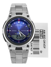 New Casio AW80D-2A Dual Time Watch Brand Stainless Steel/ Water Resistant