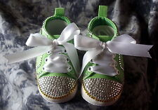 BAXTER'S BABY BLING BOOTEES ROMANY GREEN WITH CRYSTAL, YELLOW BLING 6-12 Months