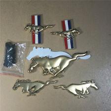 Golden Metal mustang Grille Emblem + 2 Pairs of Sticker Fender Badge Chrome Logo