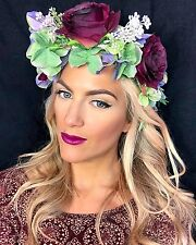 Luxury Dark Red Berry Rose Hydrangea Flower Crown Hair Head Band Choochie Choo