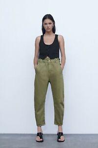 Zara Baggy Paperbag Jeans Dark Khaki Size 8 BNWT Sold Out