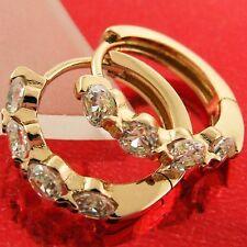 FSAN558 GENUINE 18K ROSE G/F GOLD SOLID DIAMOND SIMULATED HUGGIE HOOP EARRINGS