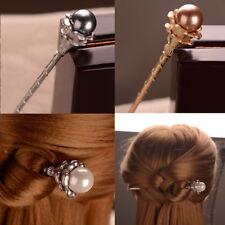 Women Handmade Pearl Printed Hair Chopsticks Hair Stick Hairpin Vintage Pin Gift