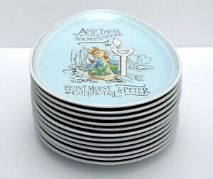 Set of 12 - Pottery Barn Kids BEATRIX POTTER Melamine Egg Plates PETER RABBIT