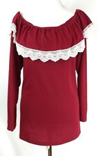 Off Shoulder Red Long Sleeve Fashion Family Blouse  Shirt Tops Cotton Size 5XL