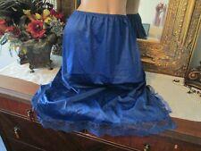 Vintage Beau Trix Lacy Antron Iii Nylon Half Slip Size X-L lingerie Navy blue