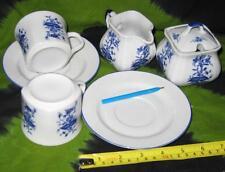Oriental Blue White CHINEESE JAPANESE TEA set Sugar Milk Cream jar pot cups bean