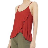 A.L.C. Womens Ava Ruffle Tank Top 100% Linen Sleeveless Cami Top Red Size S NWT