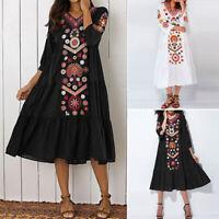 ZANZEA Damen Sommer Kleid Bohemia Floral Prom Beach Kaftan Midi Maxikleid Dress