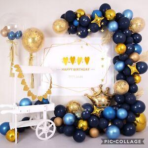 50pc - Late Night, Metallic Blue & Gold, Confetti Latex And Foils Balloons 🥳