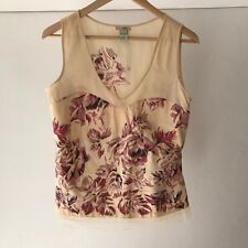 Odille 100% Cotton Floral Sleeveless Blouse / Top  Size 8
