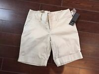 New NWT- Mossimo womens bermuda shorts size 2 stretch Beige Tan Khaki modern fit
